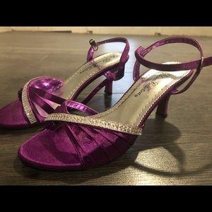 Shoes - Purple Satin Heels with Rhinestones